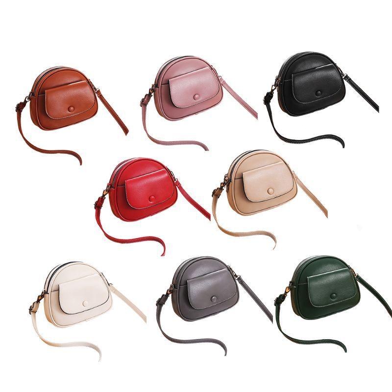 Women Shoulder Bag PU Leather Round Crossbody Messenger Satchel Small Handbag Purse L9BE