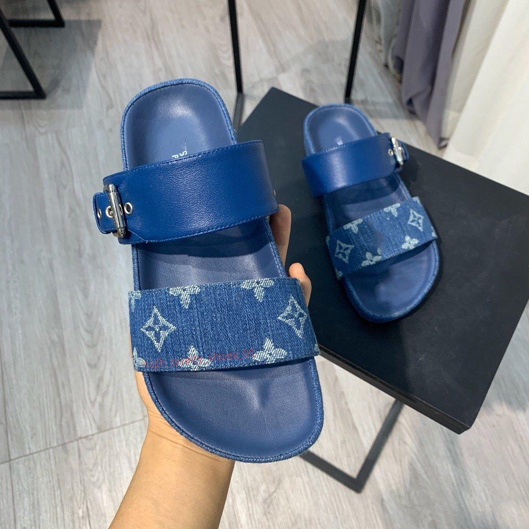 Louis Vuitton sandals النساء والرجال جلدية طباعة صندل ضرب المصارع نمط Xshfbcl تسولي الكمال شقة قماش عادي صندل Size35-40