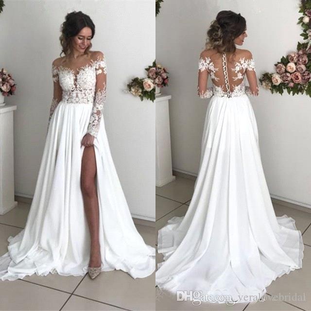 2019 robes de mariée de plage pas cher en dentelle pure encolure haute côté en mousseline de soie fendue en mousseline de soie à manches longues et longue de longueur de plancher robe Weddng robe de mariée robes de mariée bohème