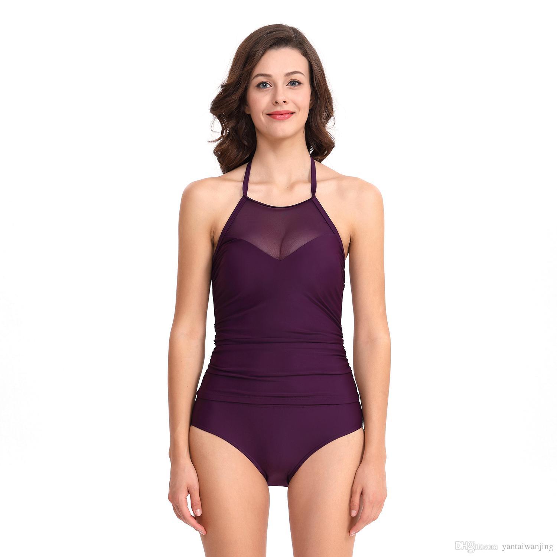 Женская сексуальная танкини комплект из двух частей Холтер купальник стильный высокий вырез тонкий силуэт Мягкий бюстгальтер купальный костюм темно-фиолетовый