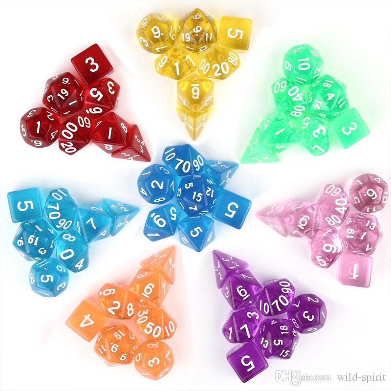 Şeffaf Akrilik Zar Seti D4-D20 Board Game RPG Zar İçme Masa Oyunları Çoklu Renkler için 7pc / set İnci dices Cambling Oynama M511Y