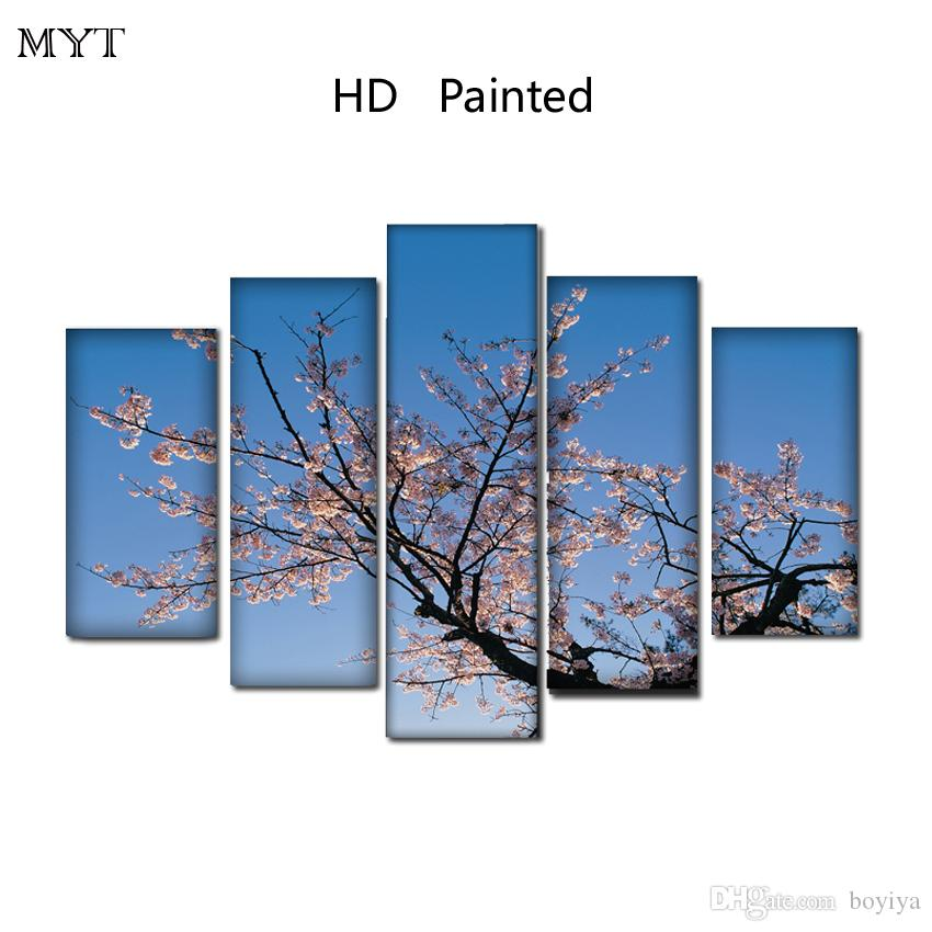 HD Printed oil Paintings Spray prints image on Canvas Wall Art pictures 5 pieces Plum blossom flowers scenery For bedroom Home Decor