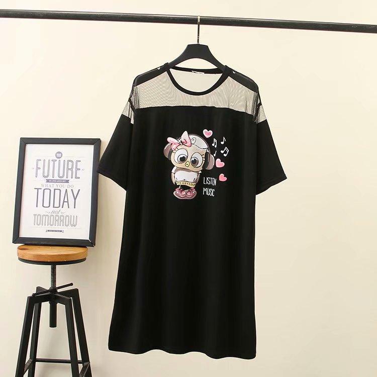 2019 Plus Size Women Dresses Summer Clothing Fashion Casual Loose Short Sleeve Mesh splice printing Dress H7-6019