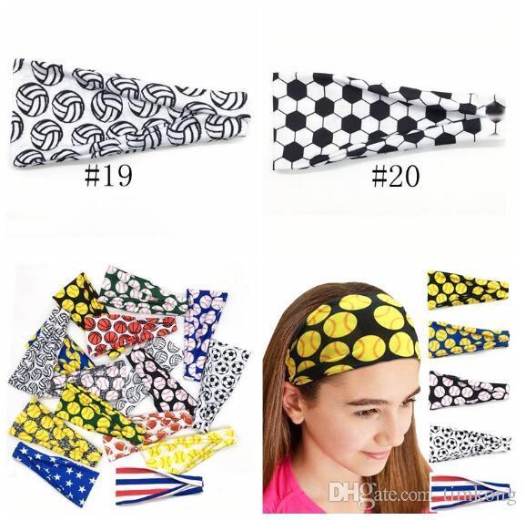 2020 Baseball Sports Headband Women Men Softball Football Team Hair Bands Sweat Headbands Yoga Fitness Scarf Sport Towel 20 styles new