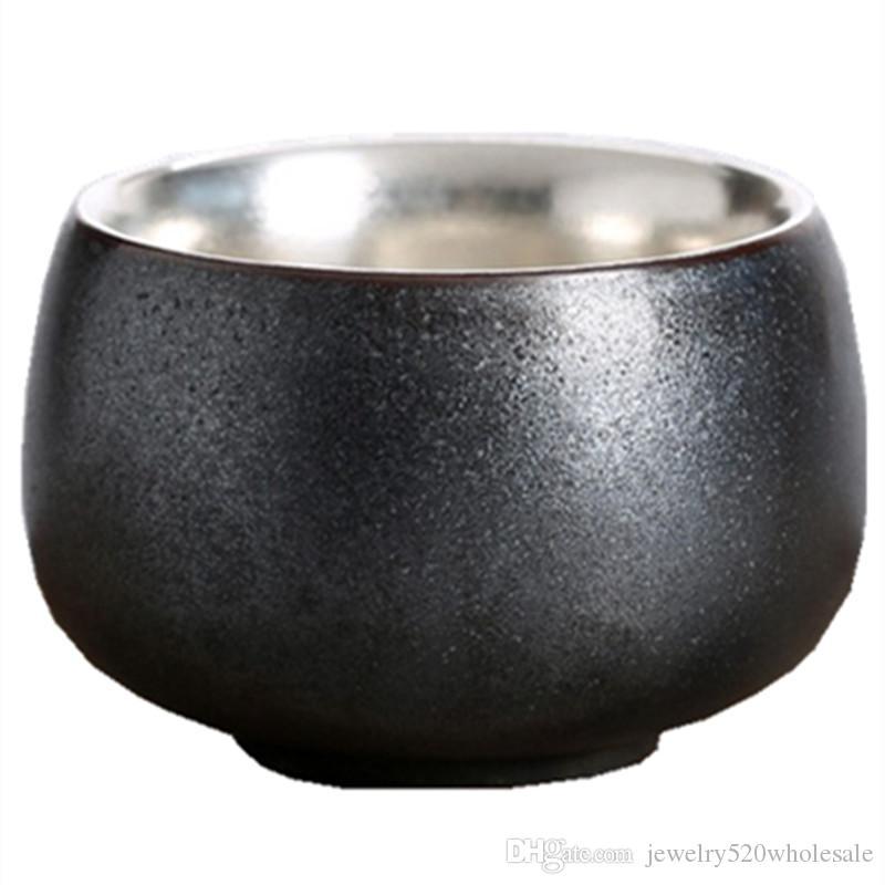 Vintage Silver Teacup Céramique Santé Tasse À Thé Poterie Pur Puer Noir Bols À Thé Boisson À Thé Tasses Cadeau D'anniversaire