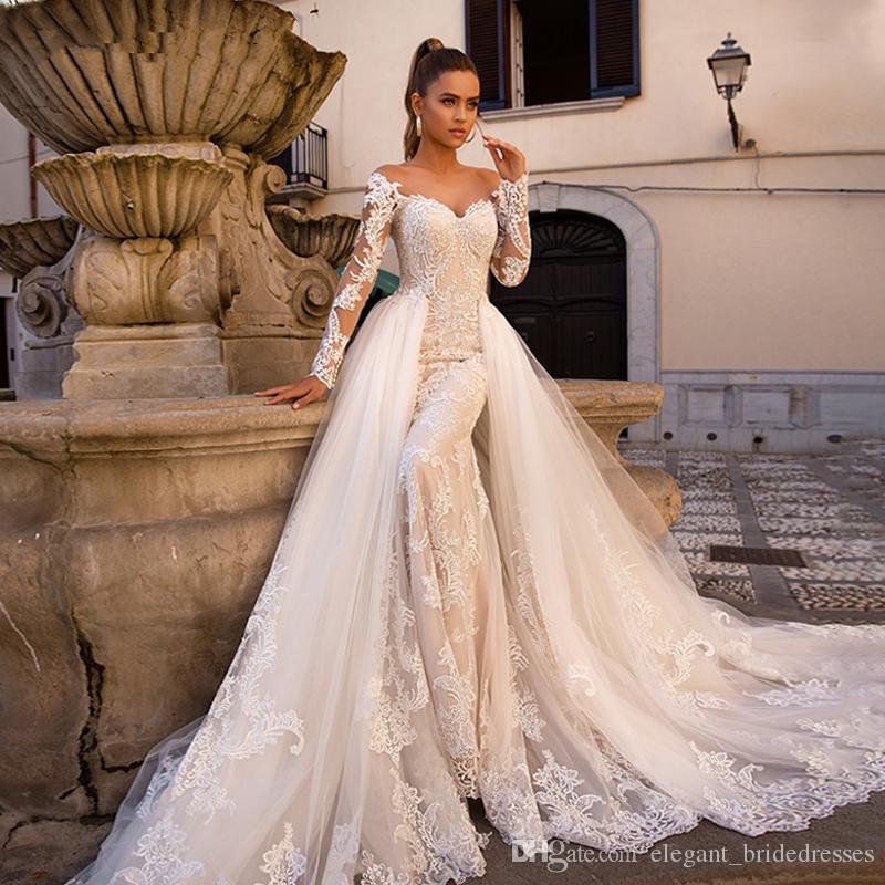Ashley Carol Sexy Sweetheart à manches longues Mermaid Robe de mariée 2019 Train détachable 2 en 1 robes de mariée Vestido de NOIVA