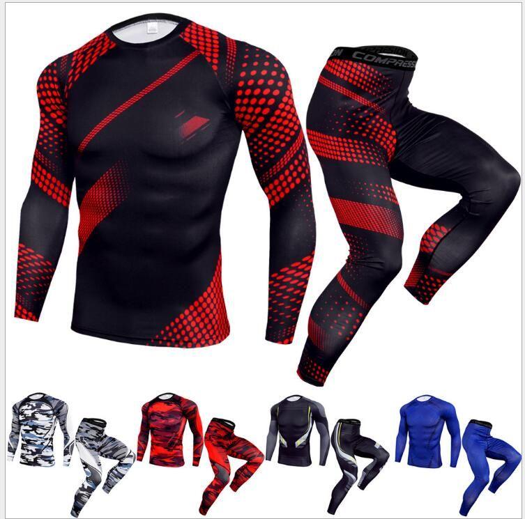 Men's tight outdoor sport Summer Men Sportswear Tracksuit Set Print Mens Casual Sport Suit Men Clothing Hot Sale Beach Short Sets Tee Shirts