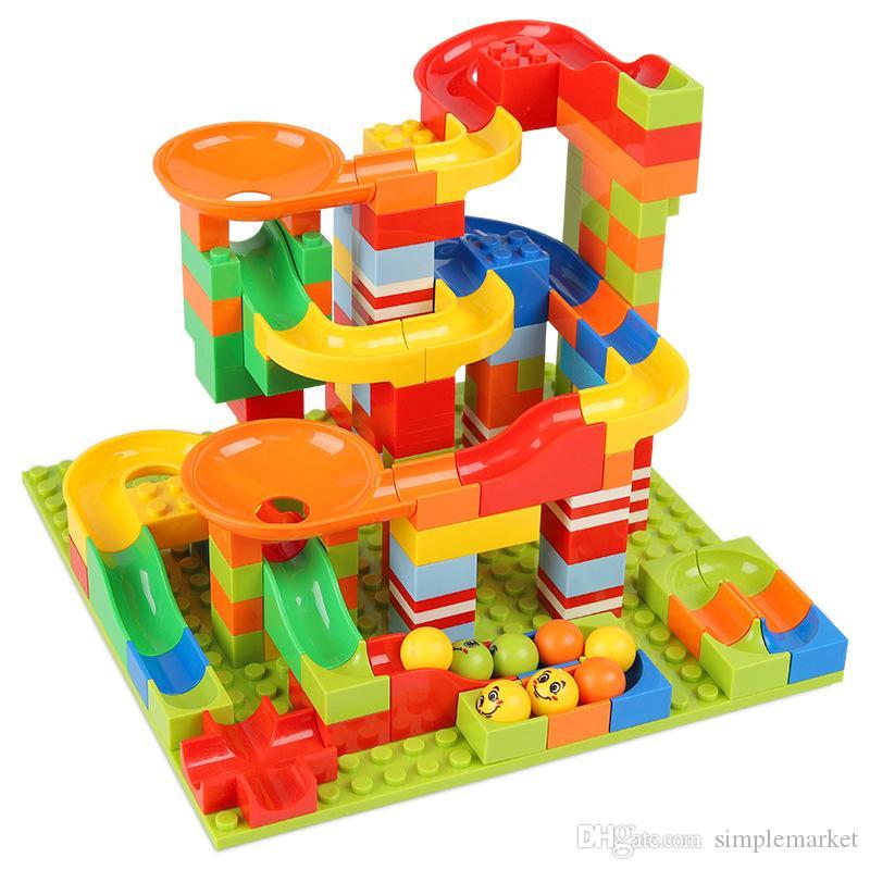 165pcs / 330pcs Crazy Ball Blocos de mármore Correr Maze track ball Building Blocks brinquedo plástico Funil Deslize Blocos brinquedos para as crianças
