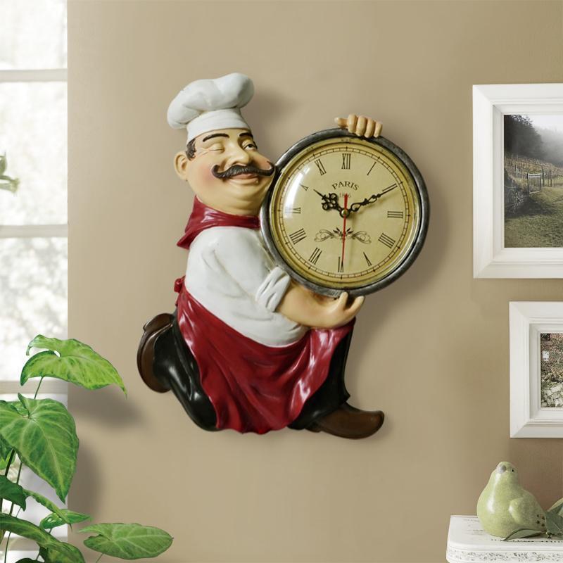 Старинные настенные часы украшения дома Смола Chef Статуя часы Mute кварцевые часы для гостиной Кухня Декор Часы настенные украшения