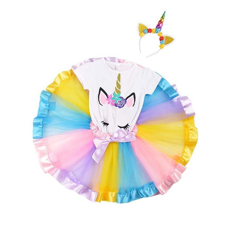 8 estilos unicórnio T-shirt + Vestidos + Cabeça aro roupa três peça terno Unicórnio Meninas Tutu vestido de princesa crianças do desenhador meninas DHL TJY190