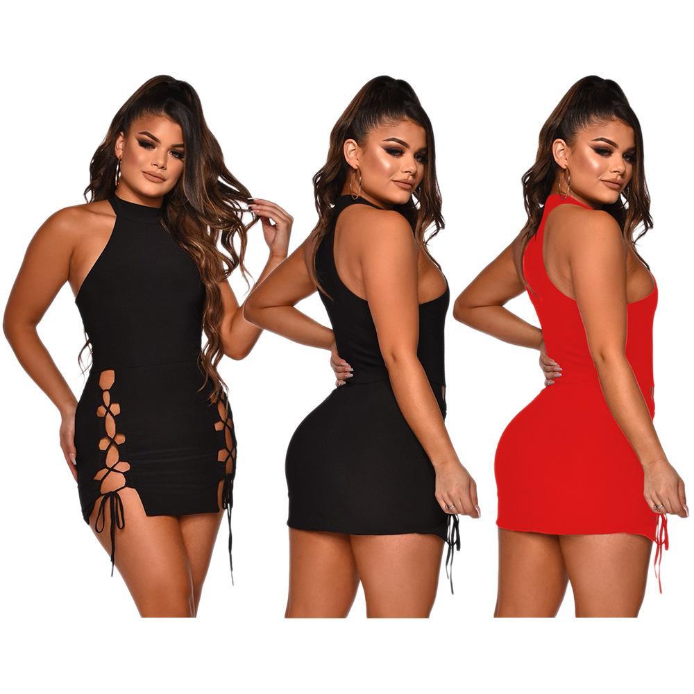 Мода женские дизайнерские платья для лета нового прибытия выдалбливают Сплошной цвет платья сексуальных женщин вскользь платья 2 цвета Размер S-XL