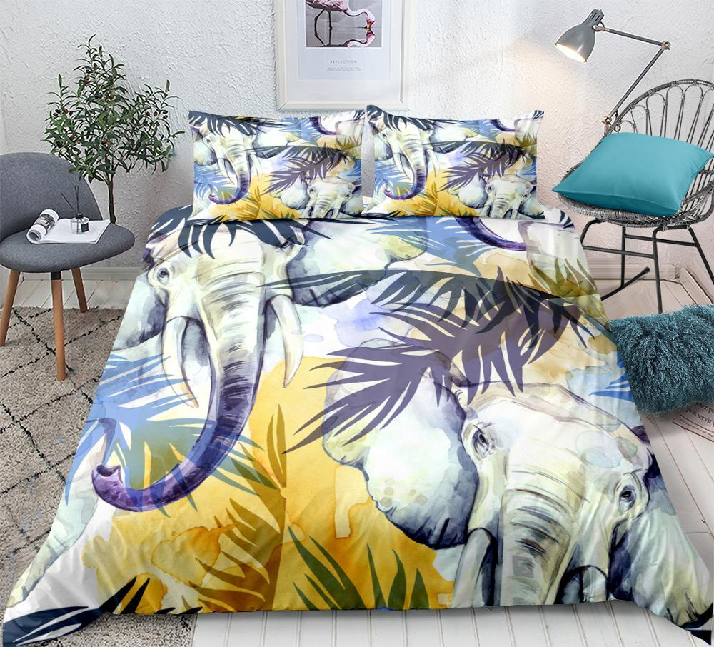 Elephant Bedding Set Tropical plants Print Duvet cover set lifelike bedclothes with pillowcase bed home Textiles