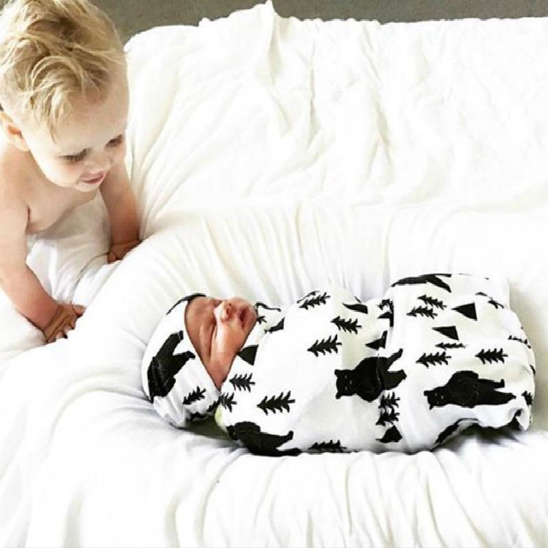 جديد 11 لون لطيف القطن المطبوع الطفل أكياس النوم مع قبعة 2 قطع مجموعة شرنقة قماط شرنقة كيس الوليد التصوير قماط التفاف بطانية