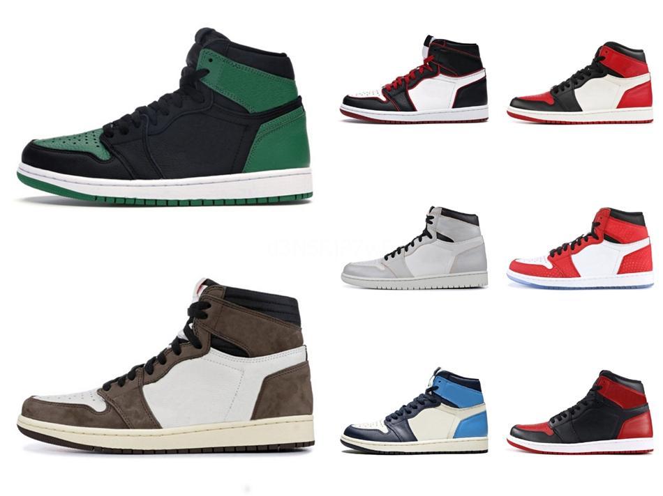 2020 New Pine Grün Schwarz 1S Basketball-Schuhe Jumpman 1 Bloodline Männer Turnschuhe Fearless Obsidian Unc Patent Gold Schwarz Toe Sneaker # QA54