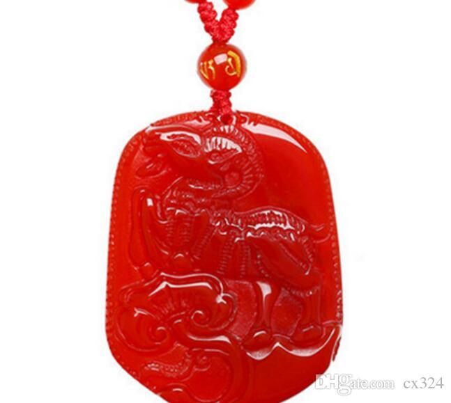 Natural Crystal Red Agate Pendant 12 Zodiac Year of the Sheep Men's Necklace Couple Jewelry Female