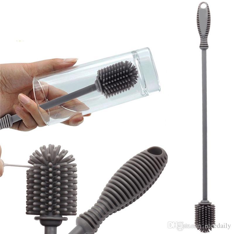 Spazzola per la pulizia delle bottiglie in silicone con manico lungo, BPA Free Bottle Cleaner per il lavaggio dei biberon / Hydroflasks / Sport bottiglia / vaso / vetro