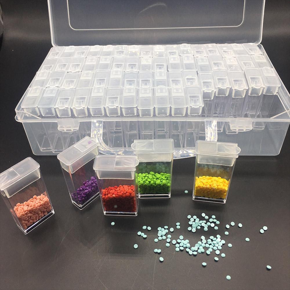 مربع من البلاستيك الماس الرسم اكسسوارات 64pcs زجاجات تخزين الحاويات صندوق ديامانت الرسم حامل DAIMOND اللوحة صندوق