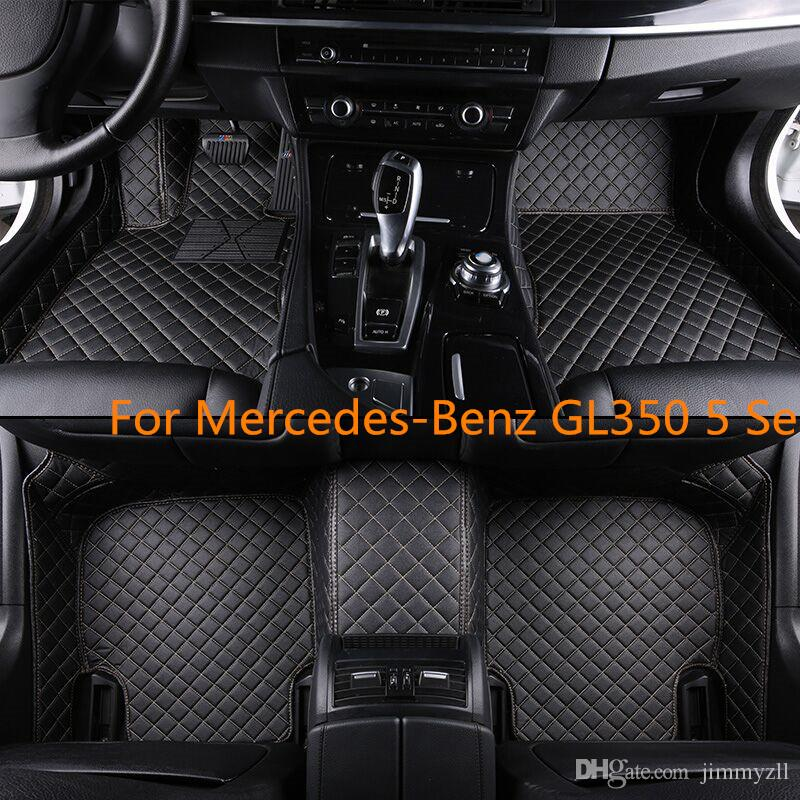 For Mercedes-Benz GL350 5 Seats Waterproof Man-Made 6 Colors Front & Rear Liner Leather Car Floor Mats