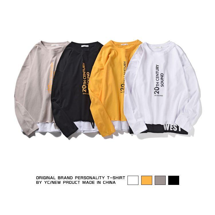 Herren Langarm-T-Shirt New Baumwolle Rundhals-T-Shirt Druck langärmelige Herren T-Shirt 3 Farben asiatische Größe S-2XL