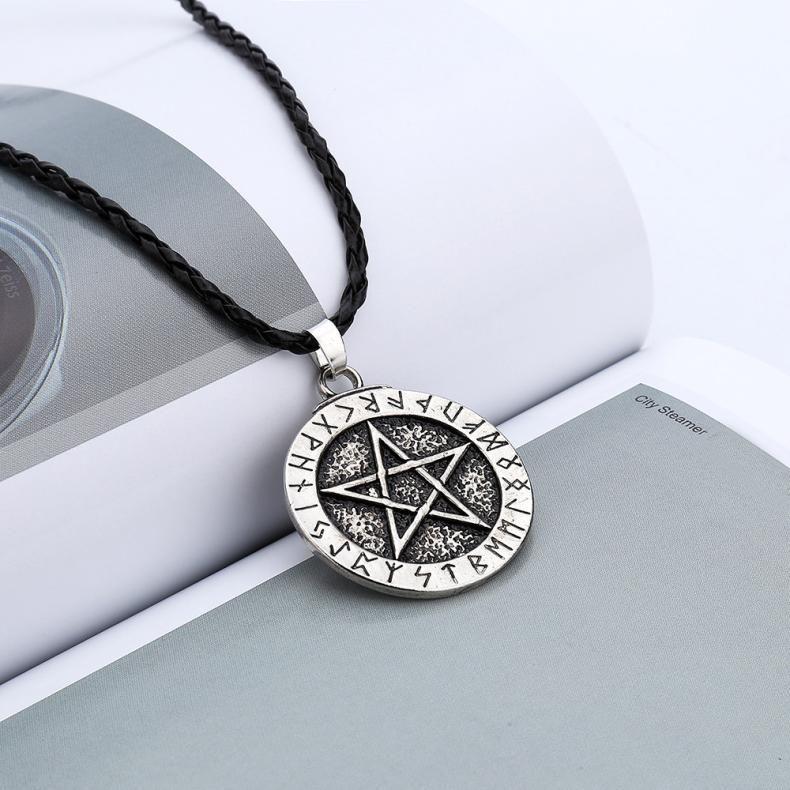 Exquisito colgante collares de la joyería grande runa nórdica Gargantilla de Viking pentagrama colgante collar pentagrama Wicca Pagan nórdica
