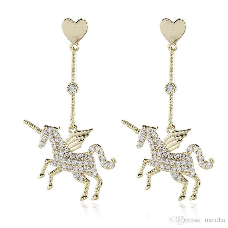 Europäische und amerikanische Exquisite populäre Art und Weise Schmucksache-einfaches Einhorn Zircon-Ohr-Bolzen-Karikatur-Tier-Ohrringe