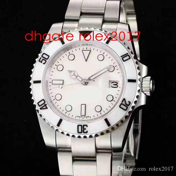 Новый стиль Мужские автоматические ETA 2813 сапфировое стекло Часы Мужчины Бэмфорд Белый керамический ободок Погружение Часы Спорт Дата Sub Perpetual 114060 Wristwat