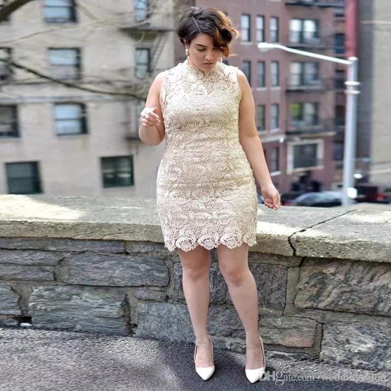 저렴한 칼집 전체 레이스 미니 댄스 파티 드레스 높은 칼라 민소매 짧은 칵테일 가운 플러스 사이즈 이브닝 가운