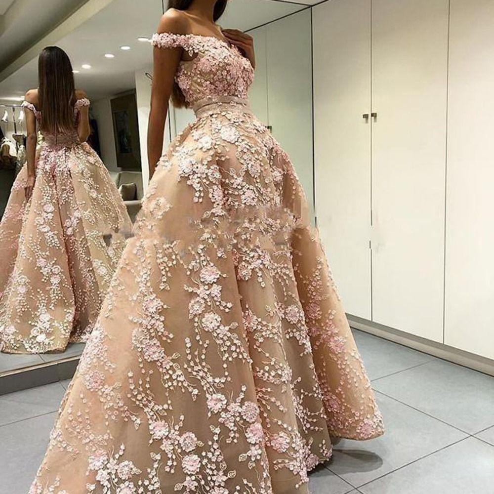 2020 Stunning Champagne Abend Ballkleider mit Perlen Blumen Appliques weg von der Schulter A lineBackless Frauen Gelegenheit Partei-Kleider