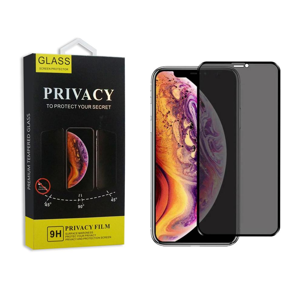3D Curved cobertura total privacidade vidro moderado para o iPhone 11 Pro Max Anti Spy Peeping Glare protetor de tela para iPhone 6 7 8 com pacote