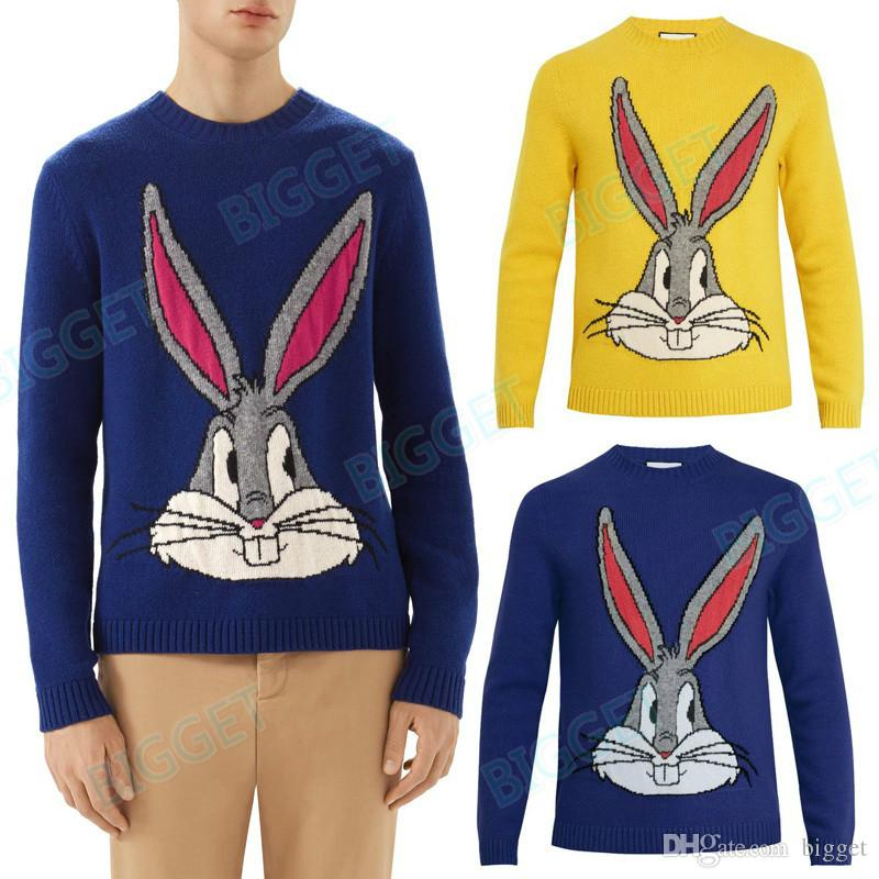 Rabbit Sequins Design Fashion Knit Wear Man F/W Wear Cotton+Wool Sweater Pullover Mens Cashmere Jumper
