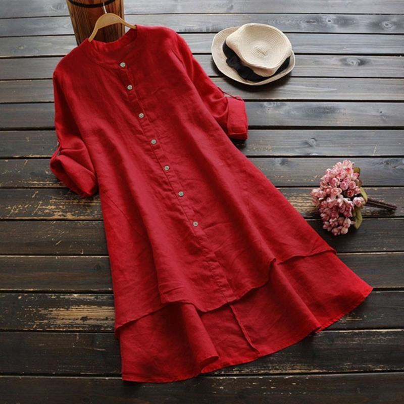 Les femmes coton Chemise en lin Bouton printemps manches longues Looose Plus Size Blouse Hauts Avslappnad O-Long Neck Blouses Ropa Mujer # LR3