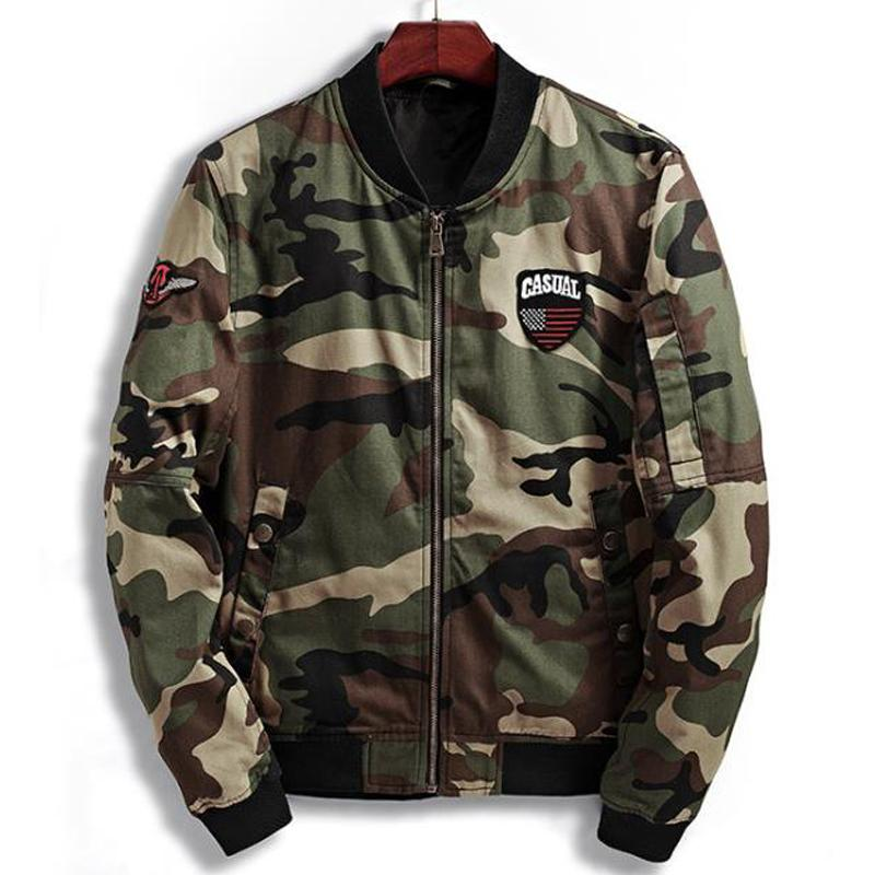 Casual Primavera Camouflage Impresso jaquetas e casacos para homens europeus e americanos estilo militar Coats Masculino XXXL Plus Size A553