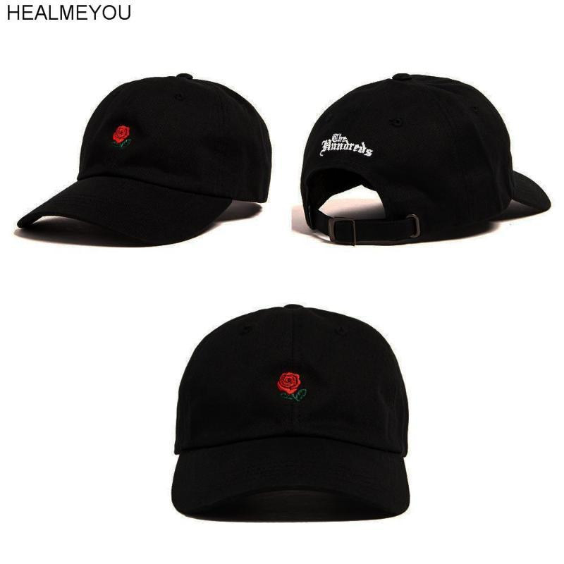 Mode unisexe chapeau de papa Fleur Rose brodé courbe Brim Baseball Cap Visor
