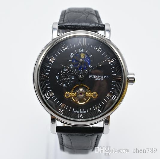 лучшие роскошные мужские механические часы кожаный бизнес автоматические часы водонепроницаемый турбийон скелет мужчины платье дизайнерские часы