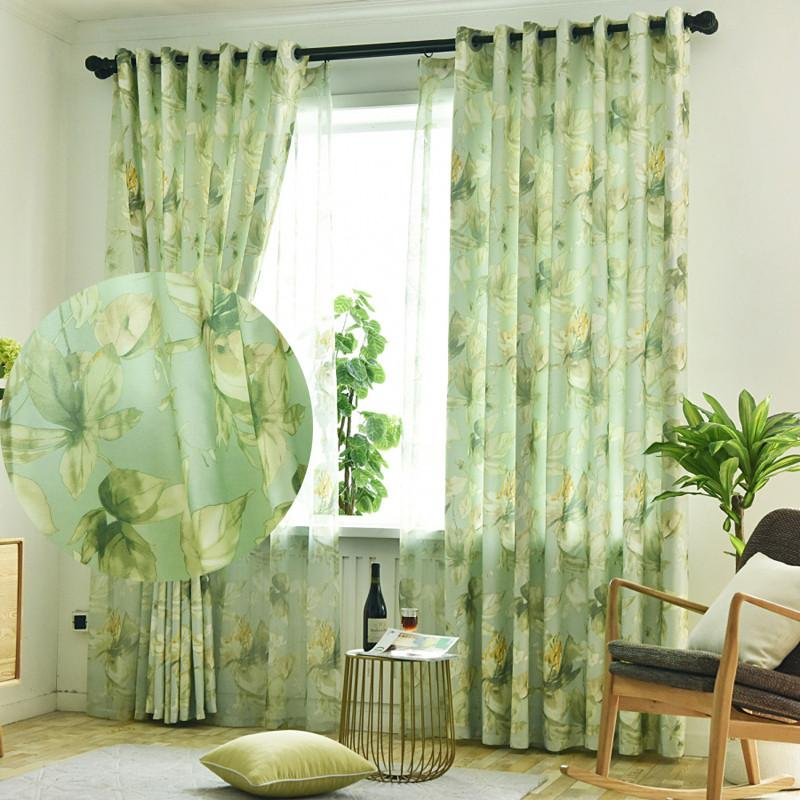 2020 Elegant Green Living Room Curtains Big Leaf Printed Semi Shading Polyester Bedroom Window Cortinas Kitchen Farmhouse Drapes Cheap Curtain From Jarlhome 11 03 Dhgate Com,Two Story 2 Story 5 Bedroom House Floor Plans