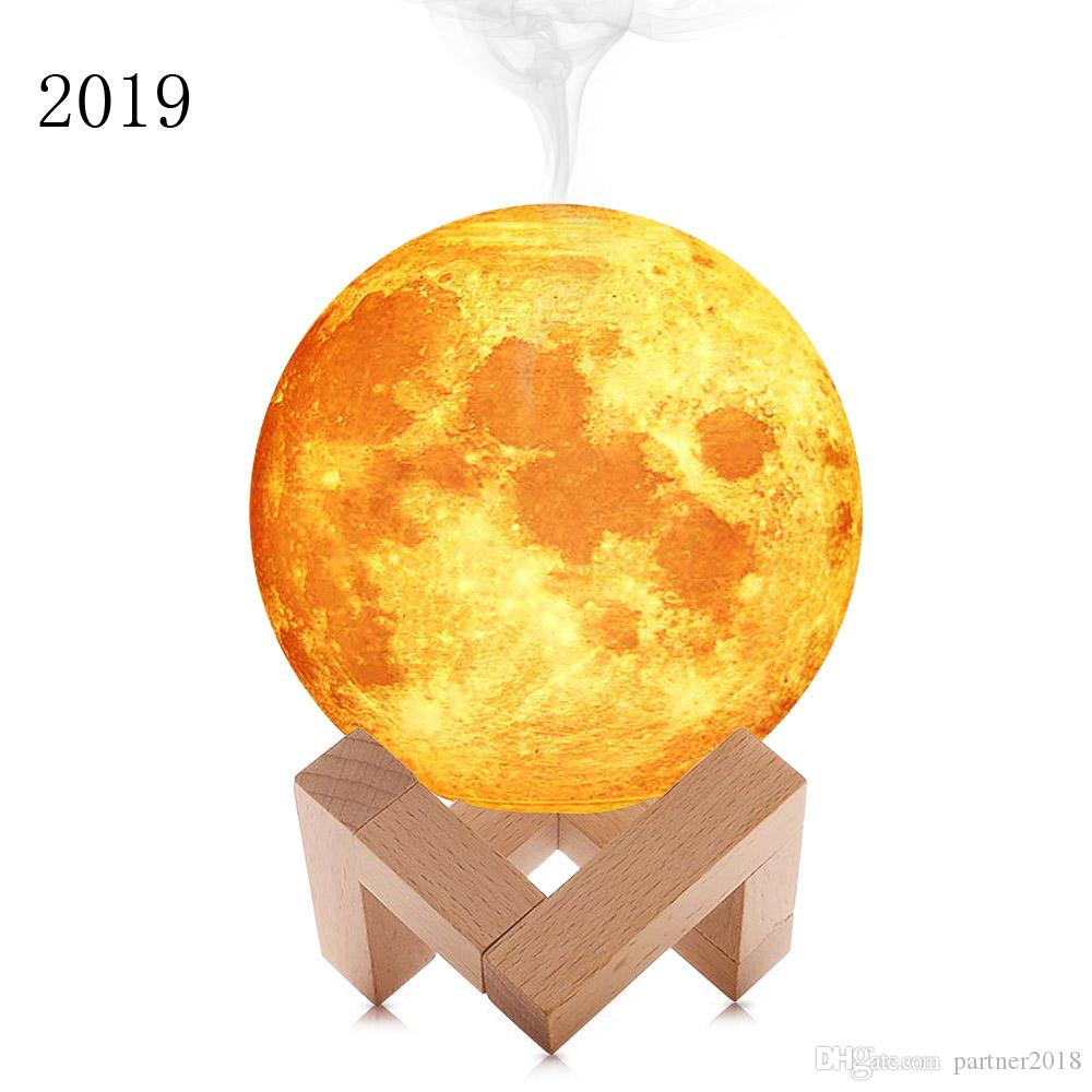 on sale 3D Moon lamp 880ML Air Humidifier Ultrasonic Humidificador LED night Light USB Cool Mist Diffuser Aroma Essential Oil with battery