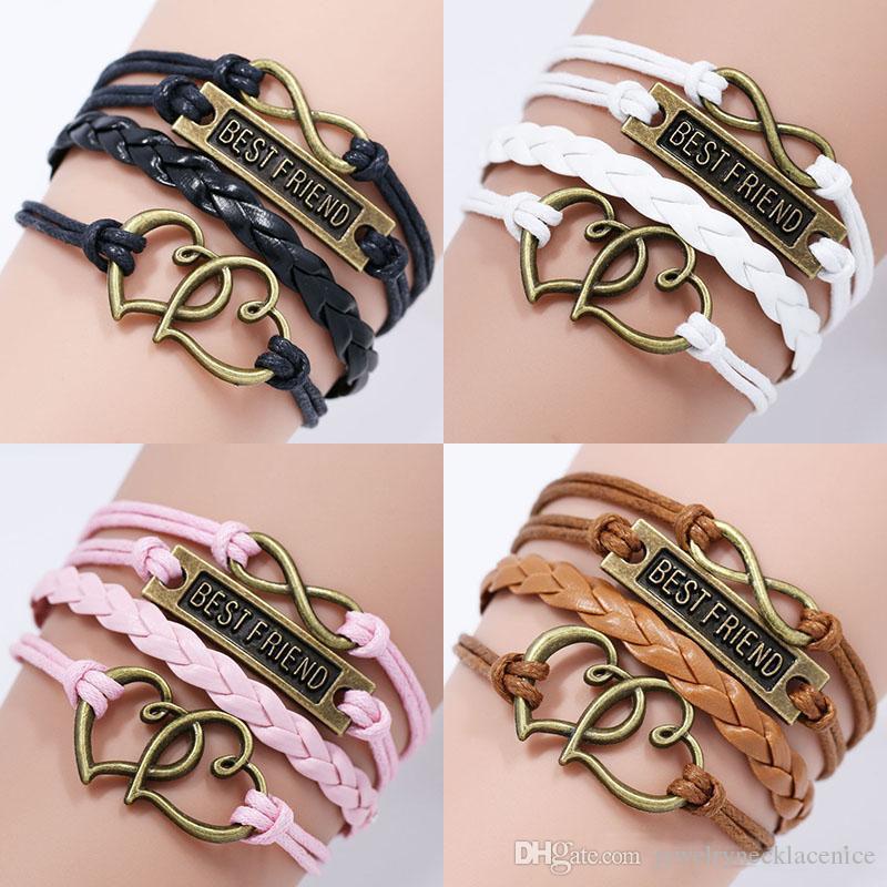 Women Bracelets Jewelry Love Heart Pearl Silver Leather Charm Buckle Bracelets