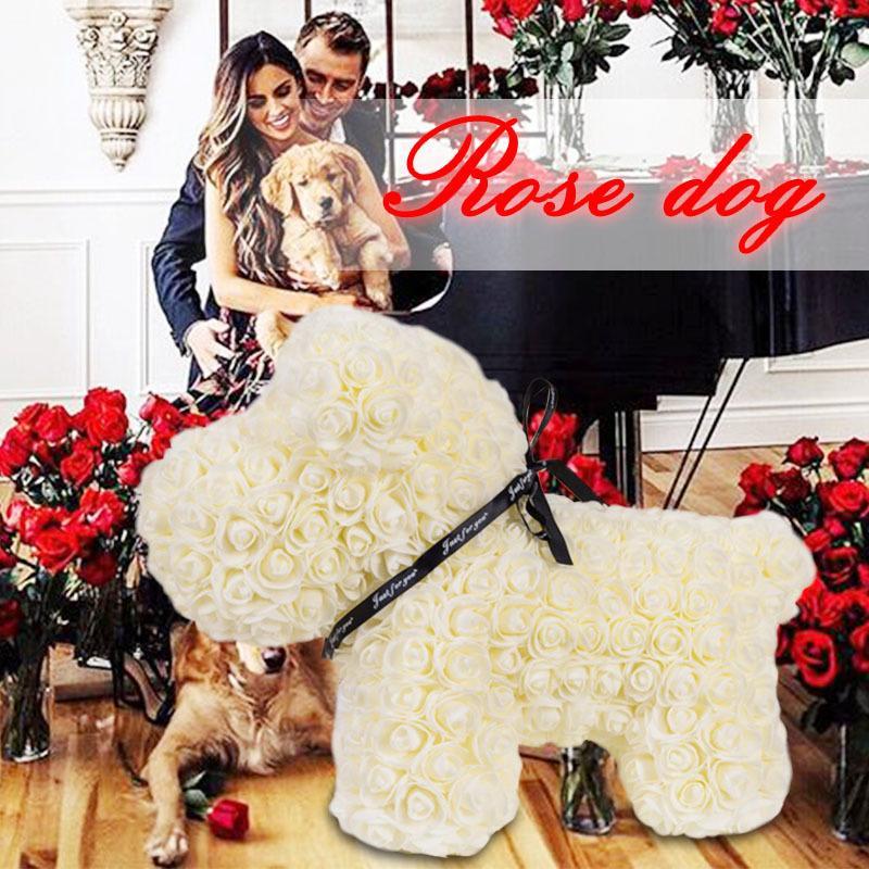 WR dropshipping Ucuz Red Rose Köpek Tavşan 2019 Yapay Çiçek Düğün Ev Dekorasyon Sevgililer Günü Hediye Aşk Ayı Hediye CJ191223