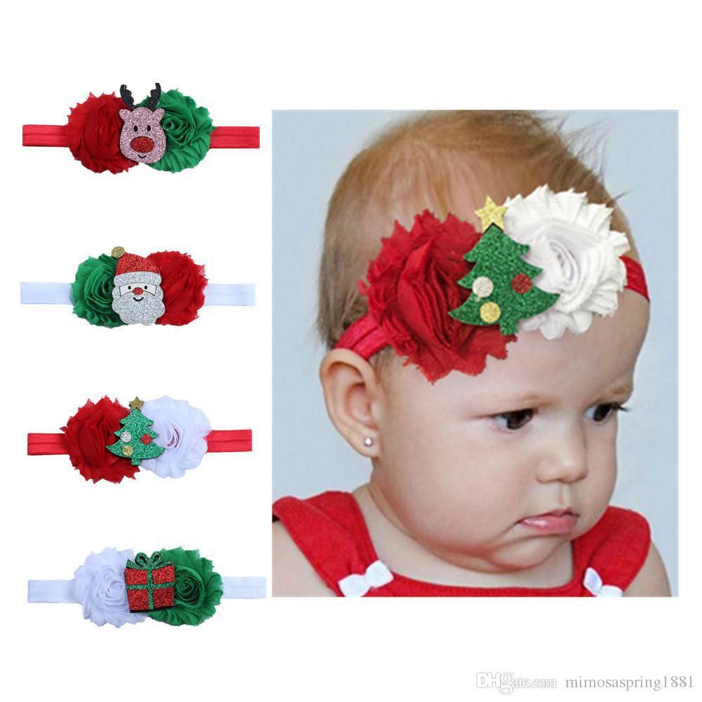 6 цветов Симпатичные малышей Рождественские олени Галстуки Детские аксессуары Санта-Клауса Hairbands Xmas младенца шифоновый цветок оголовье волос