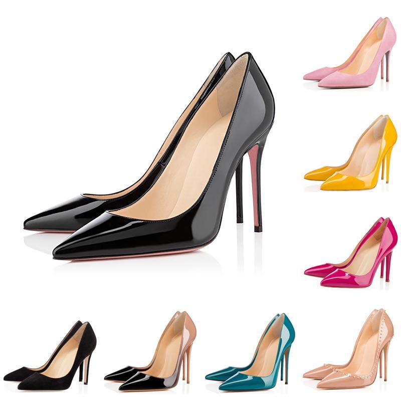 red bottoms high heels 빨간 바지 발 뒤꿈치 패션 럭셔리 디자이너 여성의 신발 라운드 지적 된 발가락 하이힐 여성 여성 웨딩 드레스 스니커즈 8CM 10CM 12CM 펌프