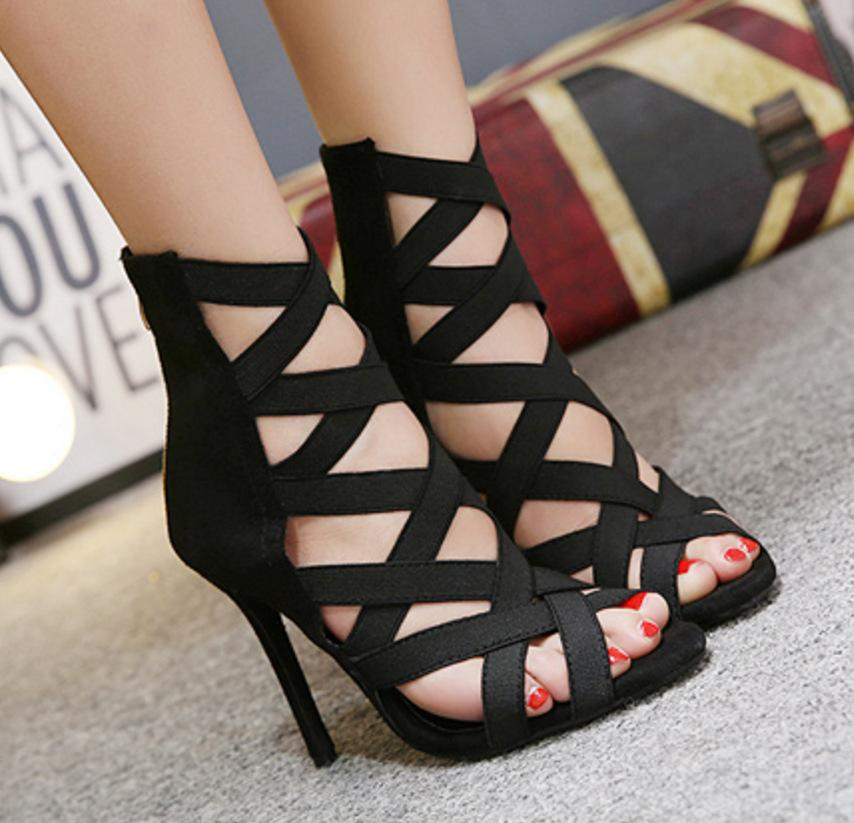 New summer gladiator women sandals hollow cross strappy high heels shoes ladies roman open toe stiletto big size black shoes
