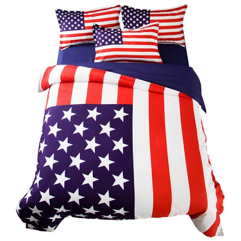King Size American Flag Bedding Set Single Double Full UK USA Flag Bed Sheet Quilt Cover Pillowcase 3/4pcs Home Decor