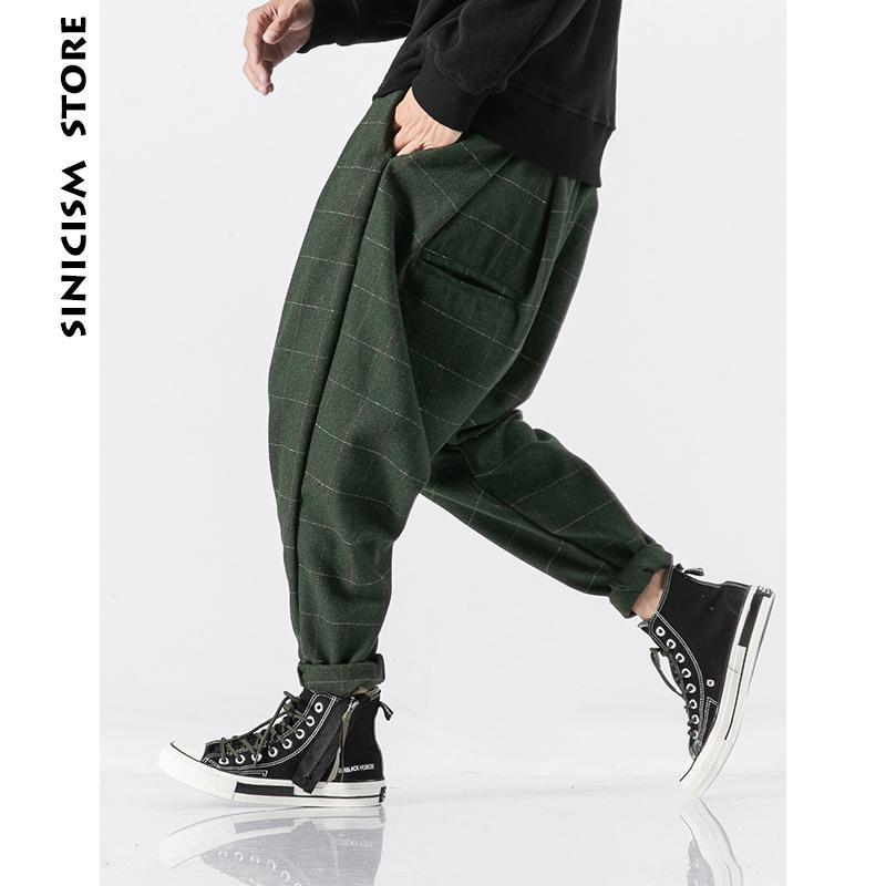 Pantalones Sinicism tienda de los hombres de la tela escocesa Joogers 2020 para hombre de lana gruesa japonesa Streetwear Harem Vintage Hombre pantalón pantalones 5XL CY200518