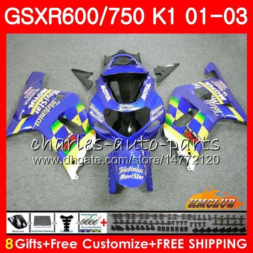 8Gifts corpo per SUZUKI GSXR 600 750 GSXR600 2001 2002 2003 Movistar Blu 4HC.69 GSX R750 GSXR600 GSXR750 GSXR750 K1 01 02 03 carenatura kit