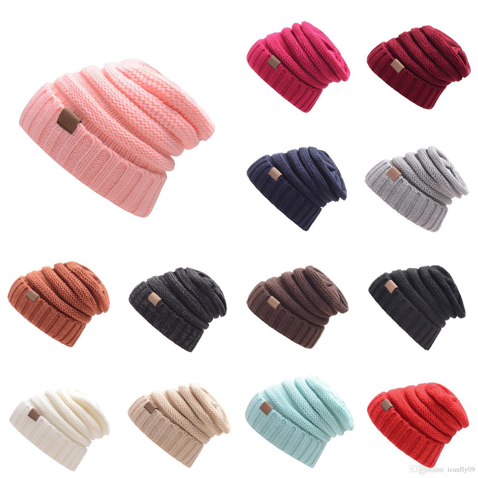 Best-seller Europa e os outono e inverno de rotulagem de malha gorros de lã Estados Unidos tampa chapéus chapéu morno ao ar livre