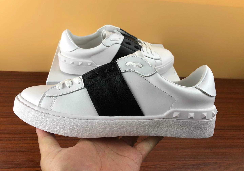 diseñador de zapatos de moda de los hombres de las mujeres blancas con cordones de cuero genuino zapatos informales de lujo abierta deporte zapatilla de deporte plana de diseño con caja de venta E6