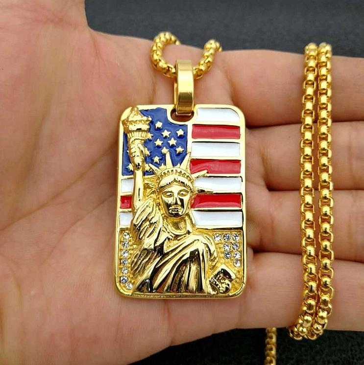 Necklace fashion new product European and American style lacquer inlaid with diamond statue of liberty model super luxury men's Necklace