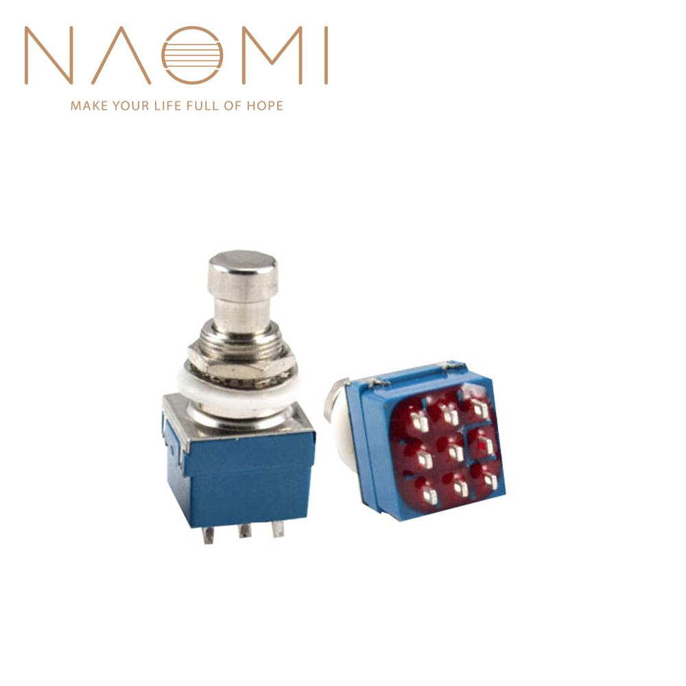 NAOMI 2PCS Guitar Effects 3PDT 9-Pin Latching Stomp Pedal Footswitch Foot Switch Blue