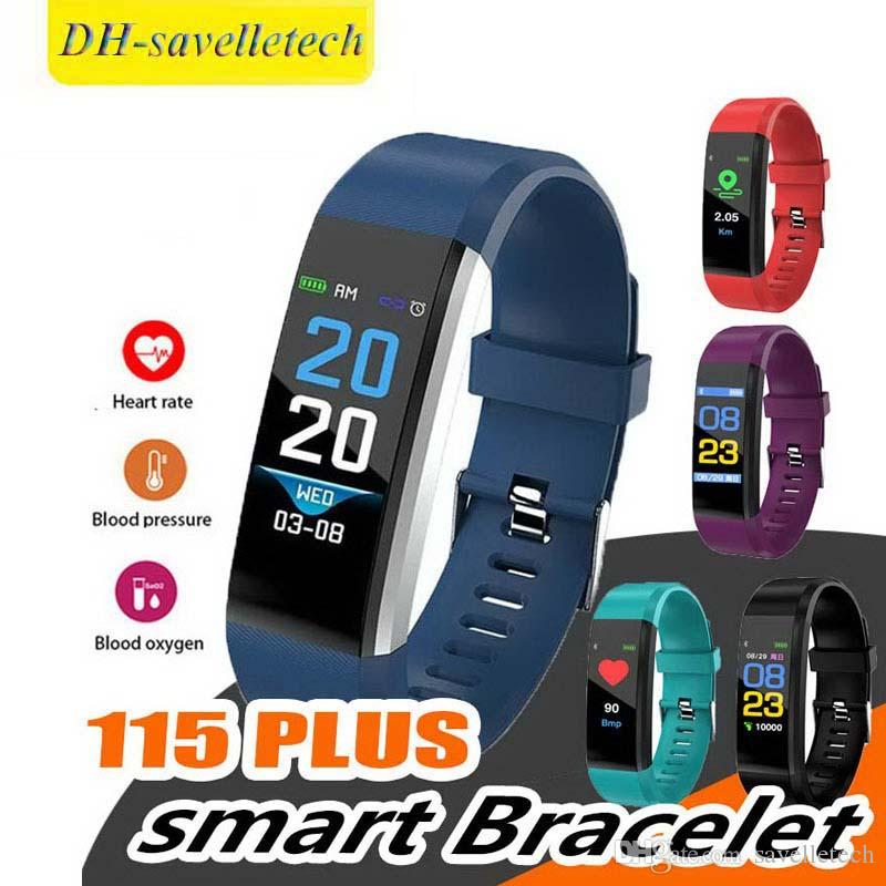 2019 cheap price LCD Screen ID115 Plus Smart Bracelet Fitness Tracker Pedometer Watch Band Heart Rate Blood for sports fashion