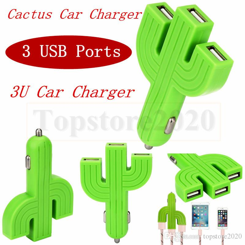 50PCS Input DC 12V-24V car kit cell phone charger cactus 3U ports Green car charger multifunction USB Car Charger
